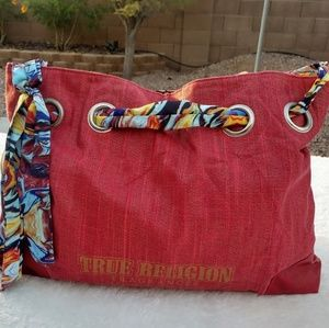 True Religion Red & Gold Tote Scarf Handle